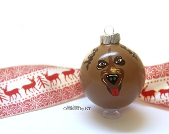 German Shepherd Christmas Ornament MADE TO ORDER Glass Bauble Dog Mom Hand Painted Pet Portrait Pet Gift Pet Loss Gift Pet Memorial