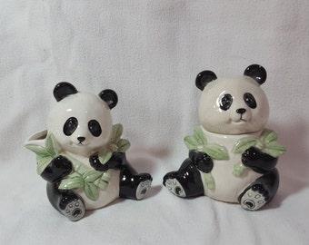 Panda Bears And Bamboo Creamer and Sugar Bowl, Ceramic, Hand-painted