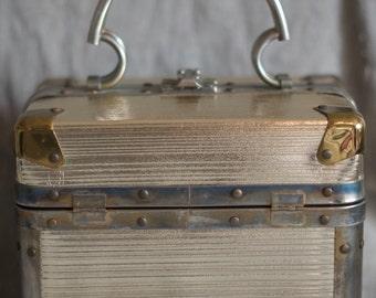 Shine On - Delill box purse - Delill train case - silver box purse - 1950s Delill handbag - metal box purse - square purse - shiny box purse