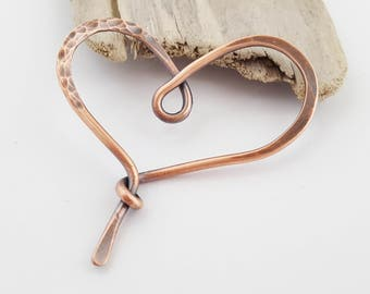 Hand Forged Copper Heart Pendant Component | Necklace Focal | Hammered Metal Jewelry Supplies | Beading | Crafts | The Blue Hutch