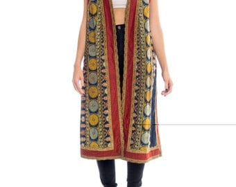 Victorian Middle Eastern Style Damask Vest With Antique Brass Trim Size: L