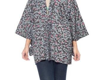 Blue And Purple Leaf Print Kimono Size: 16