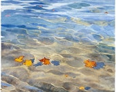Autumn leaves on water Watercolour Giclée print