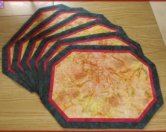 Quilted Placemats Gold Red Emerald Green Batik 173