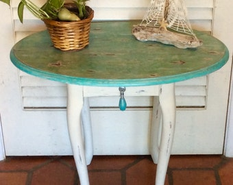 Blue/Turquoise Oval Side Table