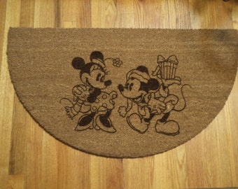 Mickey & Minnie Mouse Christmas Door mat