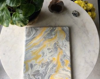 "Original painted sketch in fluid poured acrylic on 8X10"" stretched canvas in gray and yellow"