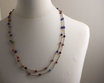 Very Long Length 1970s Multicoloured Glass Bead Beaded Necklace Kitsch