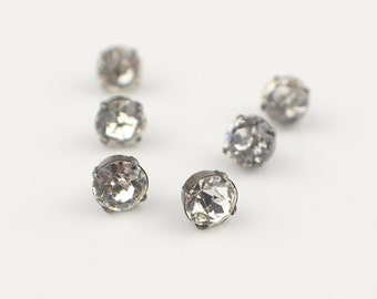 6 Small Vintage Rhinestone Round Buttons with Shank Backs