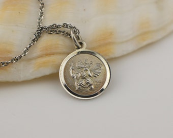 Boxed St. Christopher Small Round Pendant Raised Details 925 Silver on Sterling Silver Square Link Chain Necklace