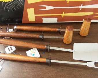 1970s BBQ Tool Set/Mr Cheftender/NOS/Outdoor Dining/Camping/Glamping  *Price Includes Domestic Shipping