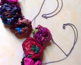 Whimsicle Sari Silk Rosette necklace