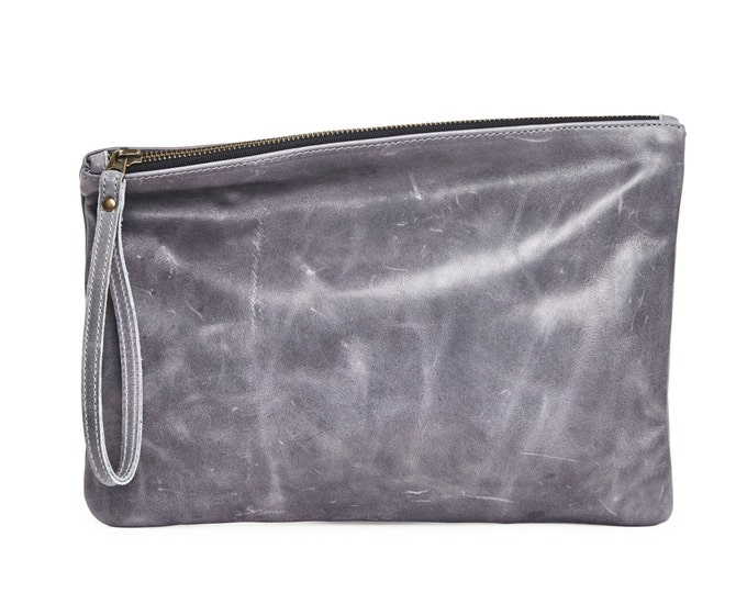 Distressed gray leather clutch, evening bag, women leather clutch