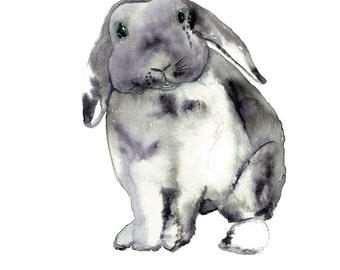 Rabbit Painting, Grey Bunny Art, Bunny Rabbit Print, Nursery Decor, Children's Art, Animal Artwork, Woodland Watercolour