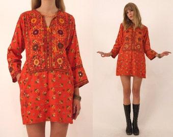 Vtg 70s Ethnic Embroidered India Folk Dress M