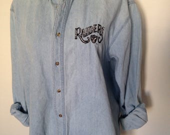 Vintage Oakland Raiders Faded Denim Shirt
