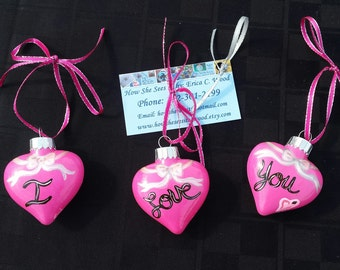 "Set Of Three ""I Love You"" Ornaments"