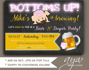 Beer and Diaper Party Invitation for Man Bottoms Up Beer and Diaper Shower Invitation Girl Baby Shower Chalkboard Invites Girl Invitations