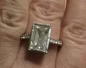 Emerald Cut Engagement Ring, Art Deco Style Engagement Ring, Vintage CZ Engagement Ring