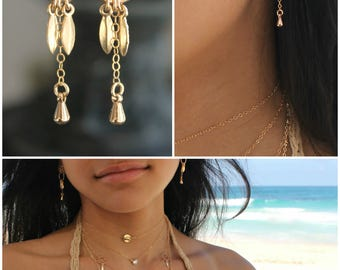 14k Gold filled earring with eternity circle rings & mini gold leaf drops, gold leaves pair dangle earrings, ball post studs