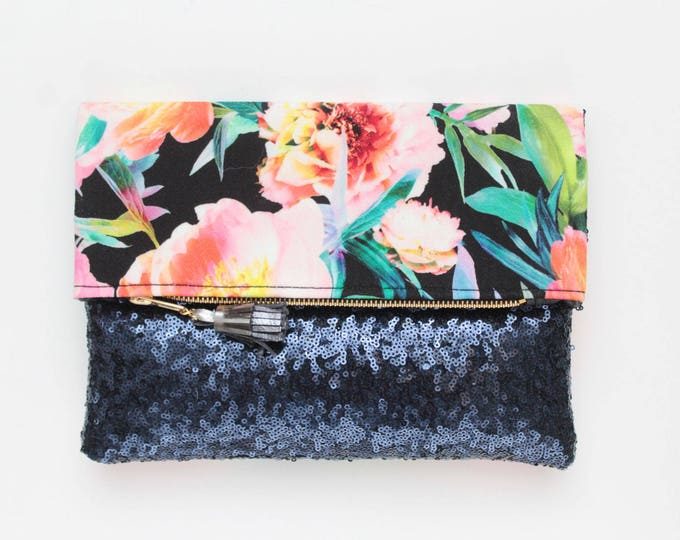 BLISS 2 / Sequin clutch bag-fold over bag-wedding bag-bridesmaid gift-floral print-flower fabric-blue sequin-blue teal pink-Ready to Ship
