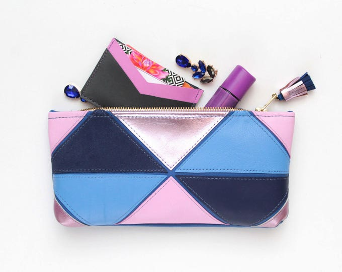 MINI PRISM 45 / Natural leather pouch-makeup bag-cosmetic purse-zipper pouch-mixed metallics-small purse-geometric clutch - Ready to Ship