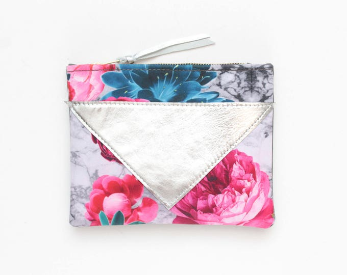 SPLASH 88 / Cotton pouch-natural leather pouch-floral print-make up bag-cosmetic purse-small leather purse-zipper pouch-Ready to Ship