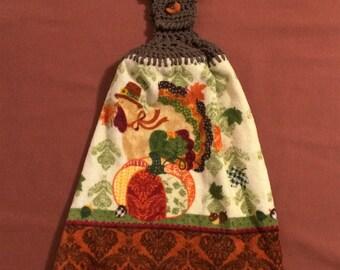 Harvest - Hanging Kitchen Towel - Turkey -Thanksgiving - Pumpkin - Acorns - Fall - Crochet top - button top