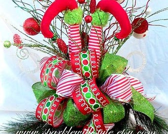 HUGE! 360 VIEW Christmas Tree Topper OR Centerpiece - Tree Topper Bow - Christmas Bow - Raz Imports Tree Topper - Mesh Tree Topper - Elf