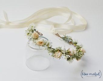 Flower Crown - Boho Flower Crown, Blush, Peach, Gypsophila, Silk Flower Crown, Wedding Crown, Baby's Breath Crown, Flower Girl Crown