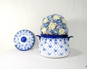 Vintage Blue and White Fleur de Lis Porcelain Soup Tureen 2 Piece