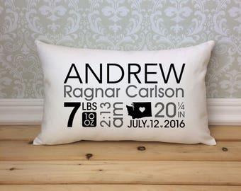 Baby Birth Pillow, Nursery Pillow, Keepsake Pillow, Lumbar Pillow, Oblong Pillow, Baby Shower Gift,