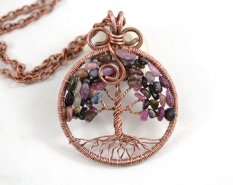 October Birthstone Tourmaline Necklace Tree-Of-Life Pendant Copper Wire Wrapped Pendant Wired Copper Jewelry Tourmaline Pendant Rustic