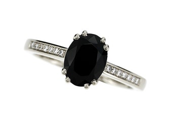 10% SALE Size 6, Black spinel and diamond solitaire engagement ring made from white gold, oval cut spinel, black engagement, gothic, unique
