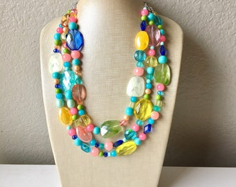 Spring Statement Necklace, Colorful Beaded Necklace, Chunky bib necklace, pastel necklace, pastel jewelry, bridesmaid necklace