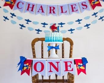 AIRPLANE BIRTHDAY BANNER / Highchair banner boy / Airplane birthday party. 1st Birthday Boy. One Highchair Banner. First birthday boy banner