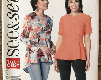 UNCUT See and Sew B6232 Shirt Sewing Pattern Size 8-10-12-14-16-18-20-22-24 Blouse, Top, Peplum, Short Sleeves