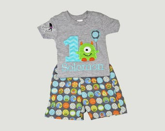 Little Monster Birthday Boy Outfit, Monster Birthday Shirt, Personalized Birthday Shirt, First Birthday Shirt, Monster Birthday Outfit