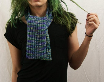 Hand Knit Scarf - Variegated (Purple)