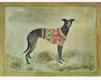"""SUGARSKULL / Greeting Card with envelope (5x7"""") / Dog portrait / whippet print / xmas cards / christmas cards"""