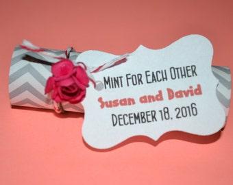 Mint Wedding Favors // Mint Wedding Favor // Mint For Each Other Wedding Favors //Mint Favors -- Gray Chevron -- Quantity 25