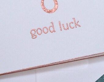 HORSESHOE, good luck, Copper, Embossed, Handmade, Vintage Image, Vintage Type, White, Folded Card, Envelope, Copper Edges, Blank Inside