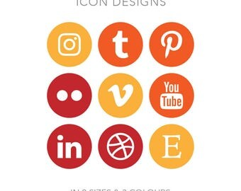 19 Circle Social Media Buttons - Instant Download - Sunset Pack