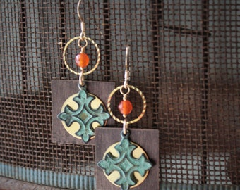 Anastasia Earrings: Verdigris coptic crosses layered over brass discs & antique brass squares dangle under golden rings, carnelian, 14k gf