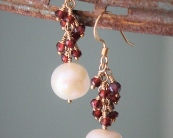 Elizabeth Earrings: Beautiful garnet and freshwater pearl wire wrapped dangle gemstone earrings on 14kt gold filled ear wire