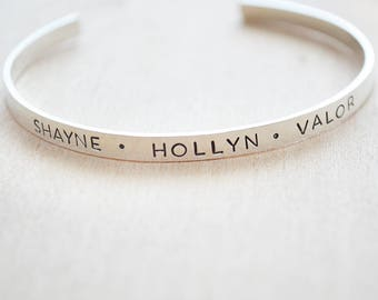 Silver Cuff Bracelet - Name Cuff Bracelet - Mother's Day Gift - Gift for Mom - Hand Stamped Name Bracelet - Gift for Wife