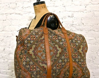 80s Huge Tapestry Bag - Leather Trim - Gorgeous Weekend Bag