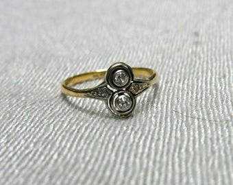 "Edwardian Platinum and 18k Gold ""Moi et Toi"" Diamond Ring"