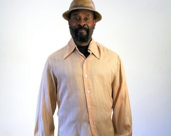 70s Tan Knit Dress Shirt, Men's 70s Shirt, Golden Touch Collection, Retro Casual 70s Shirt, Tan On Tan Striped Shirt, L