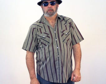 80s Gray & Black Striped Western Shirt, Western Snap Front Shirt, Short Sleeve Western Shirt, Western Pullover Shirt, L